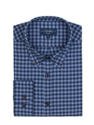 Germirli - Germirli Lacivert Mavi Kareli Düğmeli Yaka Flanel Tailor Fit Gömlek (1)