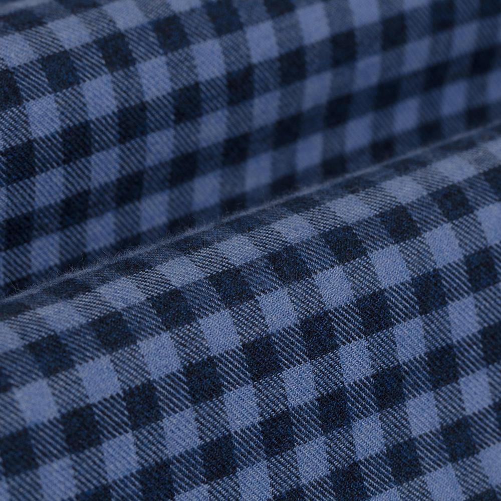 Germirli Lacivert Mavi Kareli Düğmeli Yaka Flanel Tailor Fit Gömlek
