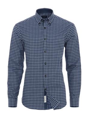 Germirli - Germirli Lacivert Mavi Kareli Flanel Tailor Fit Gömlek