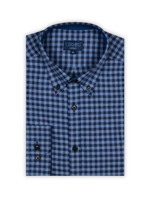 Germirli - Germirli Lacivert Mavi Kareli Flanel Tailor Fit Gömlek (1)