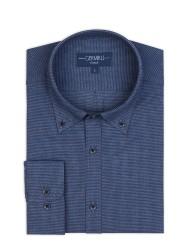 Germirli - Germirli Lacivert Mavi Pied De Poule Desenli Düğmeli Yaka Tailor Fit Gömlek (1)