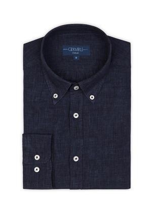Germirli - Germirli Lacivert Delave Keten Düğmeli Yaka Tailor Fit Gömlek (1)
