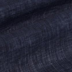 Germirli Lacivert Delave Keten Düğmeli Yaka Tailor Fit Gömlek - Thumbnail