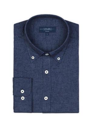 Germirli - Germirli Lacivert Melange Düğmeli Yaka Flanel Tailor Fit Gömlek (1)