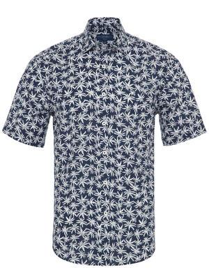 Germirli - Germirli Lacivert Palmiye Desenli Kısa Kollu Tailor Fit Gömlek