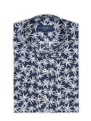 Germirli - Germirli Lacivert Palmiye Desenli Kısa Kollu Tailor Fit Gömlek (1)