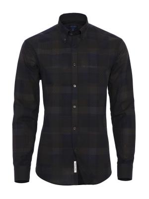 Germirli - Germirli Lacivert Print Baskılı Tailor Fit Gömlek