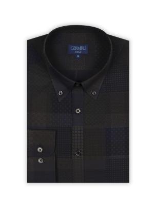 Germirli - Germirli Lacivert Print Baskılı Tailor Fit Gömlek (1)