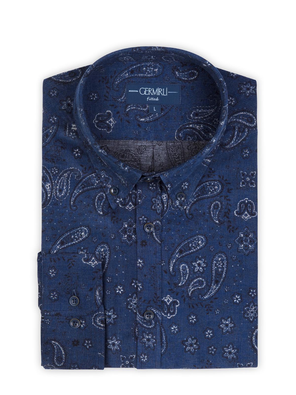 Germirli Lacivert Şal Desen İndigo Düğmeli Yaka Tailor Fit Gömlek