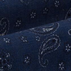 Germirli Lacivert Şal Desen İndigo Düğmeli Yaka Tailor Fit Gömlek - Thumbnail