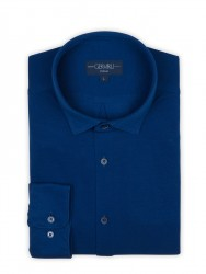 Germirli - Germirli Lacivert SoftYaka Örme Tailor Fit Gömlek (1)