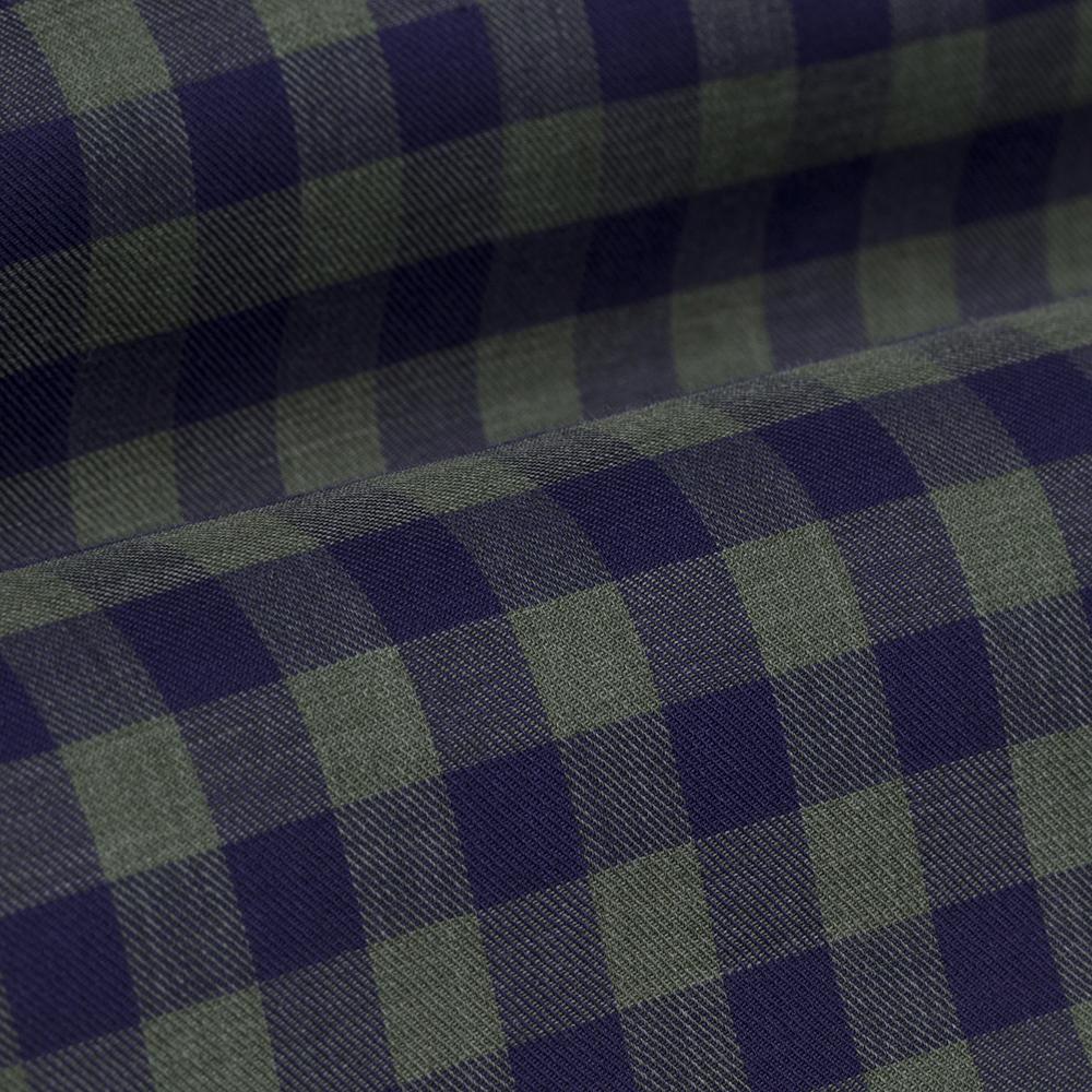 Germirli Lacivert Yeşil Kareli Düğmeli Yaka Flanel Tailor Fit Gömlek