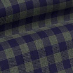 Germirli Lacivert Yeşil Kareli Düğmeli Yaka Flanel Tailor Fit Gömlek - Thumbnail