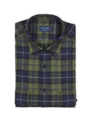 Germirli - Germirli Lacivert Yeşil Kareli Keten Flanel Tailor Fit Gömlek (1)