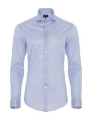 Germirli - Germirli Light Blue Semi Spread Collar Piquet Knitted Slim Fit Shirt