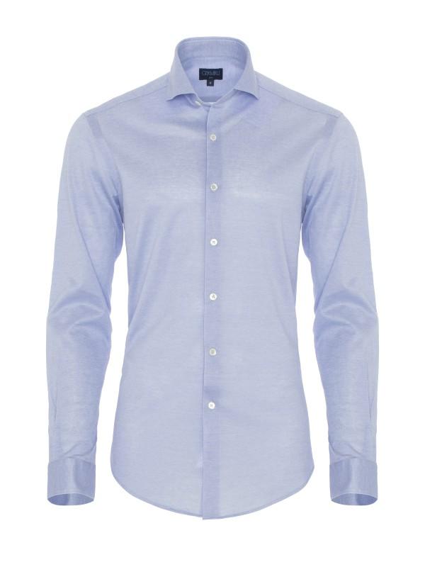 Germirli Light Blue Semi Spread Collar Piquet Knitted Slim Fit Shirt