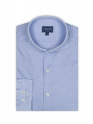Germirli - Germirli Light Blue Semi Spread Collar Piquet Knitted Slim Fit Shirt (1)