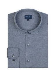 Germirli Light Blue Semi Spread Collar Piquet Knitting Slim Fit Shirt - Thumbnail