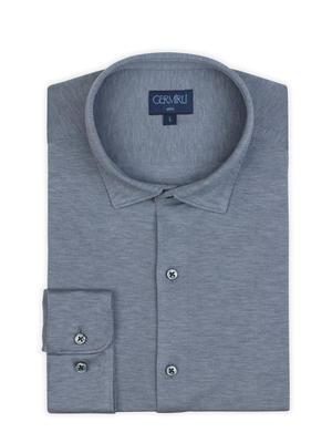 Germirli - Germirli Light Blue Semi Spread Collar Piquet Knitting Slim Fit Shirt (1)