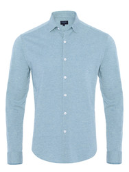 Germirli - Germirli Light Blue Twill Combed Cotton Fabric Semi Spread Knitting Slim Fit Shirt