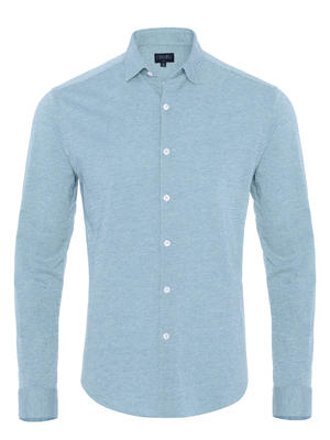 Germirli - Germirli Light Blue Twill Combed Cotton Fabric Semi Spread Knitting Slim Fit Shirt
