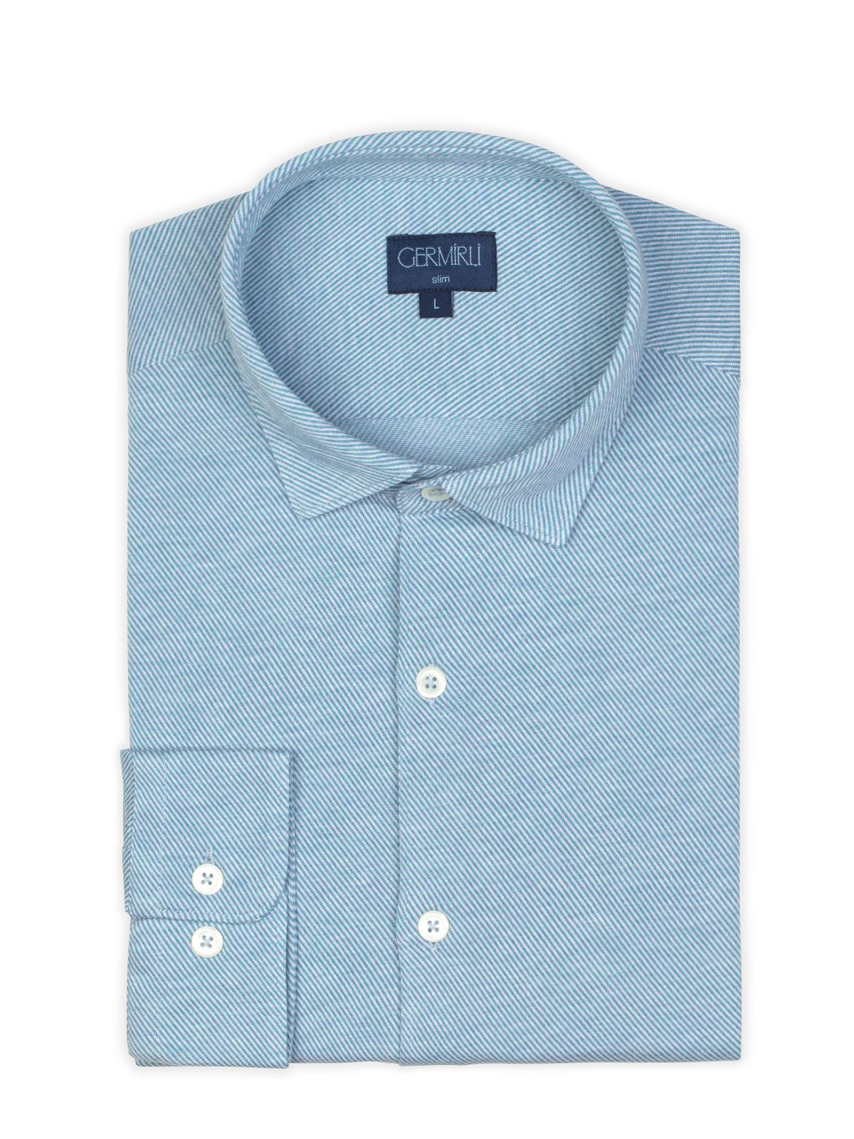 Germirli Light Blue Twill Combed Cotton Fabric Semi Spread Knitting Slim Fit Shirt