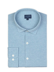 Germirli - Germirli Light Blue Twill Combed Cotton Fabric Semi Spread Knitting Slim Fit Shirt (1)