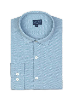 Germirli - Germirli Light Blue Twill Combed Cotton Fabric Semi Spread Knitting Slim Fit Shirt (1)