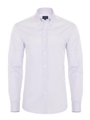 Germirli - Germirli Lila Beyaz Çizgili Düğmeli Yaka Tailor Fit Gömlek