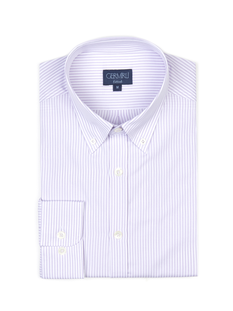 Germirli Lila Beyaz Çizgili Düğmeli Yaka Tailor Fit Gömlek