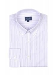 Germirli Lila Beyaz Çizgili Düğmeli Yaka Tailor Fit Gömlek - Thumbnail