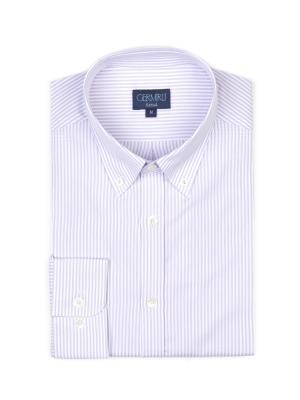 Germirli - Germirli Lila Beyaz Çizgili Düğmeli Yaka Tailor Fit Gömlek (1)