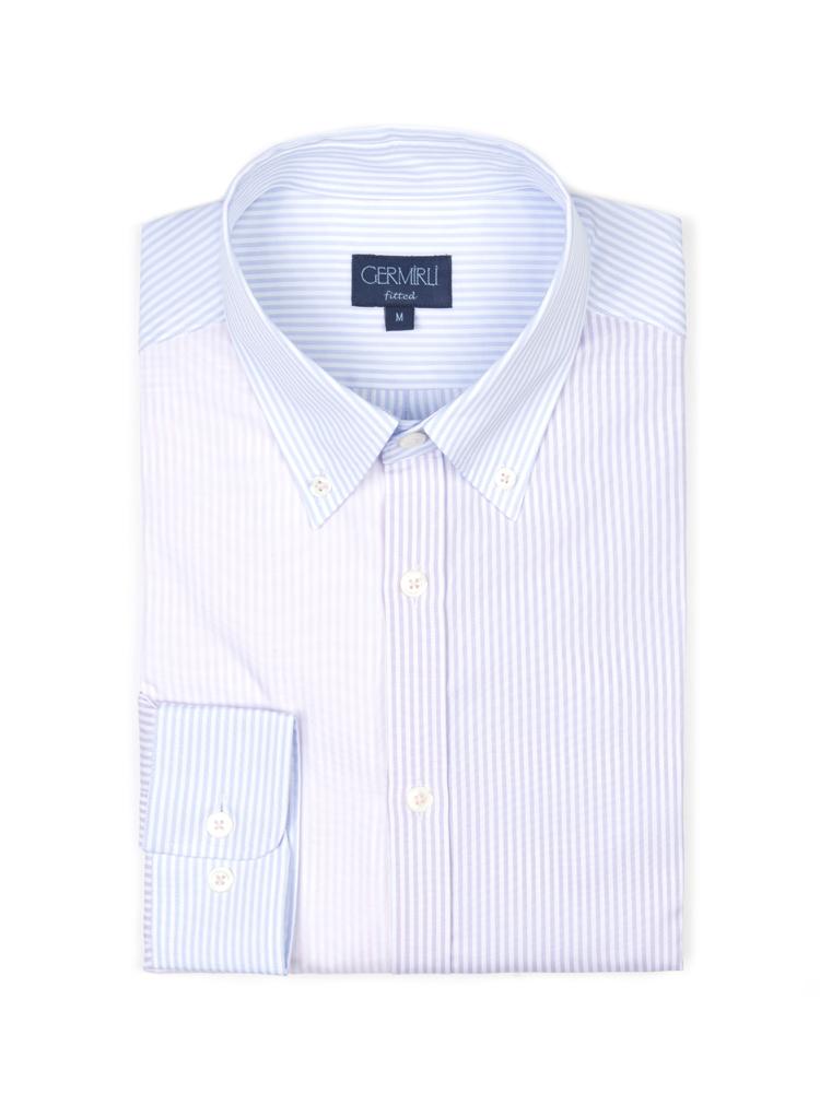 Germirli Lila Mavi Parçalı Düğmeli Yaka Tailor Fit Gömlek