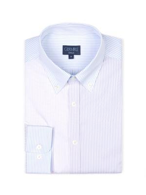 Germirli - Germirli Lila Mavi Parçalı Düğmeli Yaka Tailor Fit Gömlek (1)