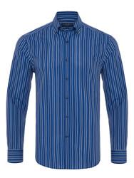 Germirli - Germirli Mavi Açık Mavi Çizgili Düğmeli Yaka Tailor Fit Gömlek