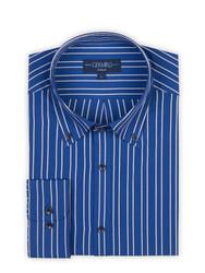 Germirli - Germirli Mavi Açık Mavi Çizgili Düğmeli Yaka Tailor Fit Gömlek (1)