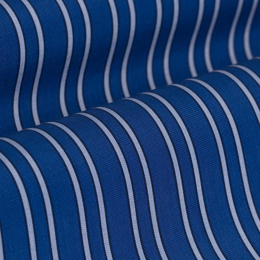 Germirli Mavi Açık Mavi Çizgili Düğmeli Yaka Tailor Fit Gömlek