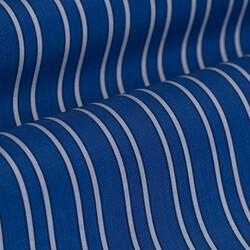 Germirli Mavi Açık Mavi Çizgili Düğmeli Yaka Tailor Fit Gömlek - Thumbnail