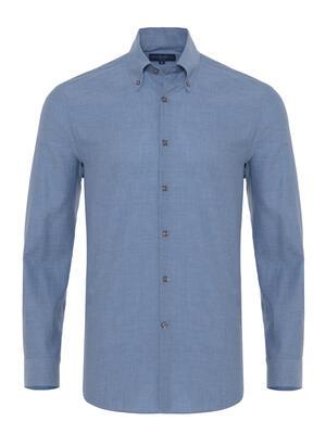 Germirli - Germirli Mavi Balıksırtı Doku Düğmeli Yaka Tailor Fit Gömlek