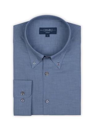 Germirli - Germirli Mavi Balıksırtı Doku Düğmeli Yaka Tailor Fit Gömlek (1)