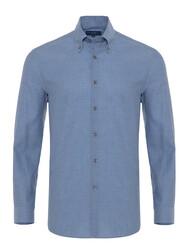 Germirli - Germirli Mavi Balıksırtı Flanel Düğmeli Yaka Tailor Fit Gömlek