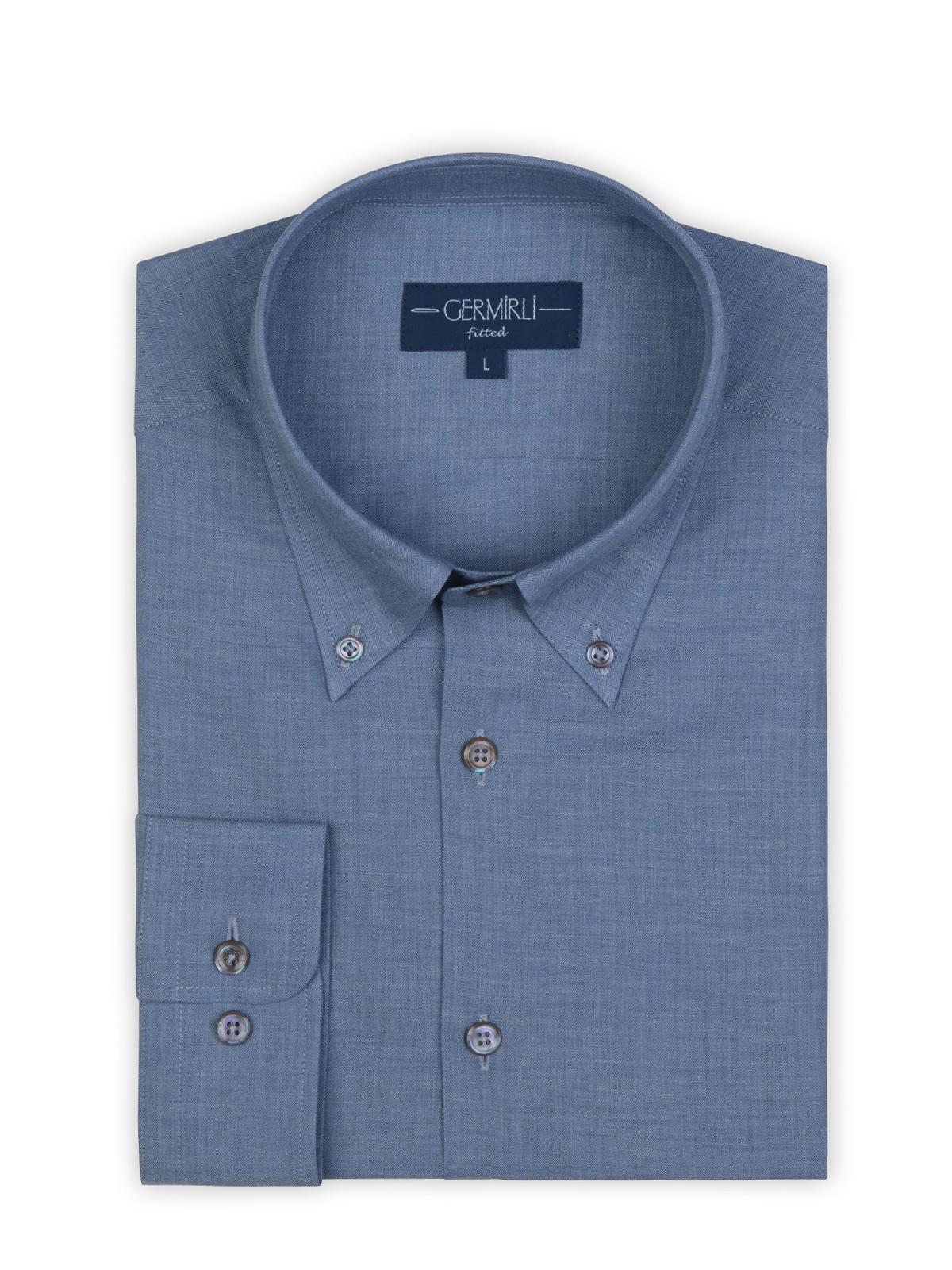 Germirli Mavi Balıksırtı Flanel Düğmeli Yaka Tailor Fit Gömlek