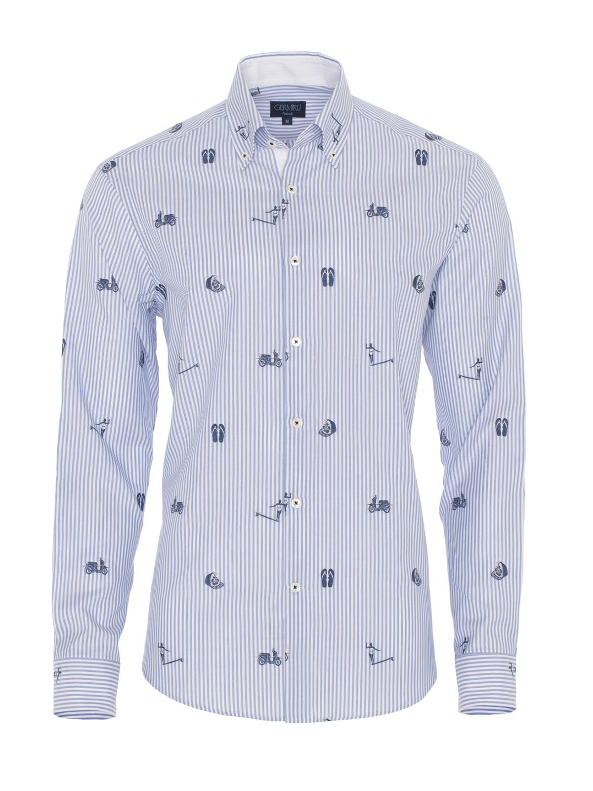 Germirli Mavi Beyaz Baskılı Çizgili Pamuk Düğmeli Yaka Tailor Fit Gömlek