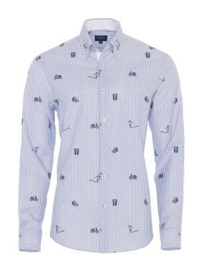 Germirli - Germirli Mavi Beyaz Baskılı Çizgili Pamuk Düğmeli Yaka Tailor Fit Gömlek