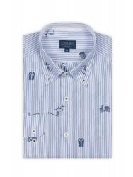 Germirli Mavi Beyaz Baskılı Çizgili Pamuk Düğmeli Yaka Tailor Fit Gömlek - Thumbnail