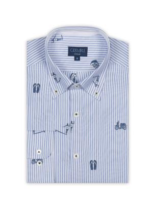 Germirli - Germirli Mavi Beyaz Baskılı Çizgili Pamuk Düğmeli Yaka Tailor Fit Gömlek (1)