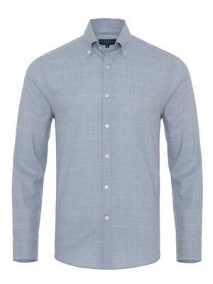 Germirli - Germirli Mavi Beyaz Büyük Kareli Düğmeli Yaka Tailor Fit Gömlek