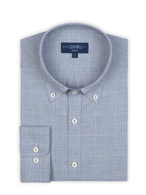 Germirli - Germirli Mavi Beyaz Büyük Kareli Düğmeli Yaka Tailor Fit Gömlek (1)