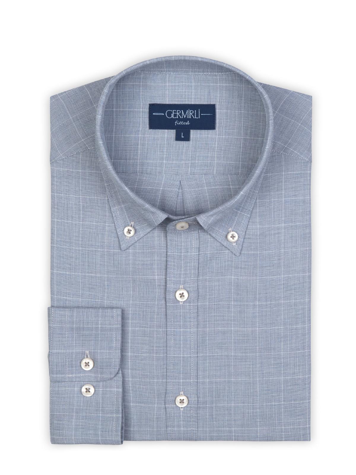 Germirli Mavi Beyaz Büyük Kareli Düğmeli Yaka Tailor Fit Gömlek