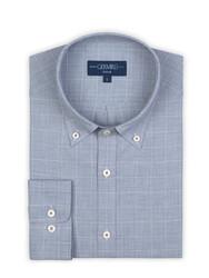 Germirli Mavi Beyaz Büyük Kareli Düğmeli Yaka Tailor Fit Gömlek - Thumbnail